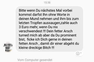Die Ex-Nationalratsabgeordnete Sigi Maurer veröffentlichte am Mittwoch diese Nachricht an sie. Sie stammt angeblich vom Account eines Einzelhändlers in der Josefstadt.