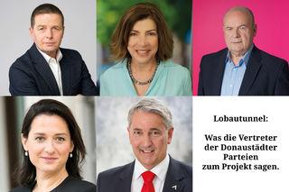Anton Mahdalik (FPÖ), Heidi Sequenz (Grüne), Ferdinand Maier (NEOS), Gudrun Kugler (ÖVP) und Ernst Nevrivy (SPÖ) (v.li.o.) beziehen Stellung zum Lobautunnel.