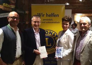Christian Pentz (Präsident LC Zell am See), Viktor Mayer- Schönberger, Sabine Orliczek vom Lions Club Salzburg Amadea und Kurt Brauneder (Regionsleiter Stv. vom LC Saalfelden)