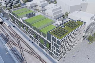 Ab Sommer 2019 kann auf dem Dach des neuen Parkhauses gekickt werden.