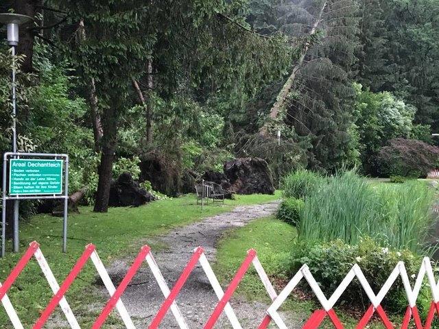 Der Dechantteich in Köflach ist gesperrt. Der Sturm entwurzelte Bäume.