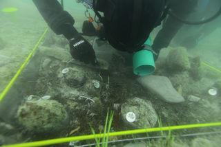 Forschungstaucher Max Fiederling bei der Arbeit unter Wasser.