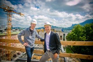 Bernhard Auinger, Vizebgm, Manfred Dürnberger, PM1, Baustellenfotos Stahlträger beim Paracelsusbad, Salzburg, 20180612, (c)wildbild