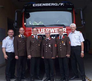 Die Feuerwehr Eisenberg hat mit Werner Peischler (3.v.r.) einen neuen Kommandant-Stellvertreter