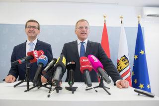 Der designierte Wirtschaftslandesrat Markus Achleitner und Landeshauptmann Thomas Stelzer (re.).