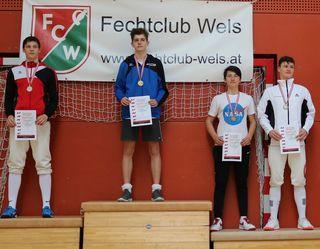 Die Sieger in der Einzelwertung Herren-Florett (v. l.): 2. Andreas Kalt (FC Wels), 1. Tobias Bresslauer (SU Wien), 3. Leon Lehner (FK Vöcklabruck) und Max Schubert (FU Mödling).