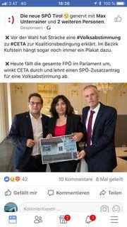 Stein des blauen Anstoßes: die Tiroler SPÖ-Nationalräte zeigen ein Bild von einem FPÖ-Schaukasten im Bezirk in Bezug auf die FPÖ-Kehrtwende bei CETA.