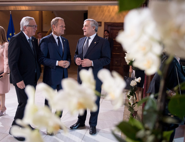 Die EU-Spitzen (v.l.n.r.): Kommissionspräsident Jean-Claude Juncker, EU-Ratspräsident Donald Tusk und EU-Parlamentspräsident Antonio Tajani