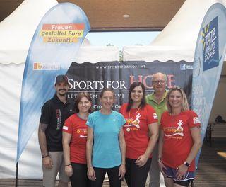 Marco Halvax (Sports for Hope), Karina Ringhofer (Frauenreferat Burgenland), Ruth Schneeberger, LRin Astrid Eisenkopf, Dietmar Lindau, Tanja Stutterecker (beide Gästeinformation Bad Tatzmannsdorf)