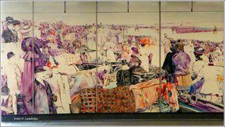Wandbild in der U-Bahn-Station Johnstraße. Emailbild, Nachbildung des Aquarells von Felician Myrbach.