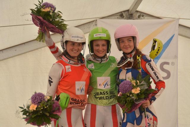 Die Top 3 in der Superkombination: Jacqueline Gerlach, Kristin Hetfleisch und Alena Vesela