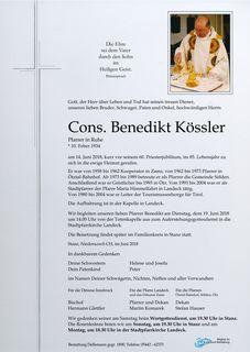 Pfarrer Cons. Benedikt Kössler ist im Alter von 84 Jahren verstorben.
