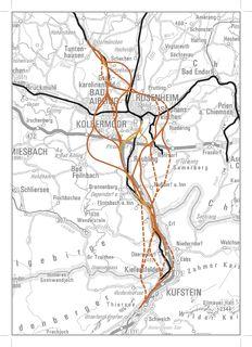 Die Grobtrassenplanung zum BBT-Nordzulauf zwischen Schaftenau und der Region um Rosenheim. Schwarze Linien zeigen die Bestandsstrecken, orange Linien die Trassenvarianten, strichliert sind unterirdische Strecken.