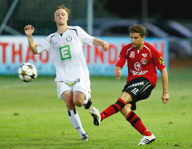 Das Duell A. Fischer (l.) gegen T. Miedl gabs nicht nur in der Relegation, sondern bereits vor fünf Jahren in der Regionalliga.