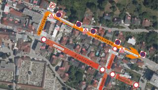 Die Umleitung während der Sperre der Zauneggerstr. in Grieskirchen von 9. Juli bis Ende August.