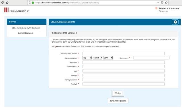 Ein Screenshot der gefälschten Website.