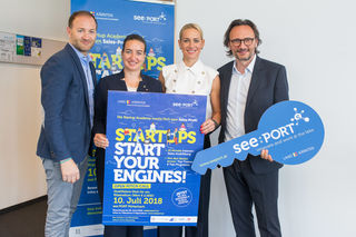 Startups sind die Zukunft, wissen Walter Prutej (see:Port), Bgm. Silvia Häusl-Benz, Katja Porsch und Peter Brandl