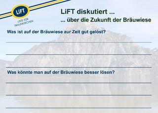 Mit dieser Karte fragte LiFT nach der Meinung der Badegäste auf der Bräuwiese.