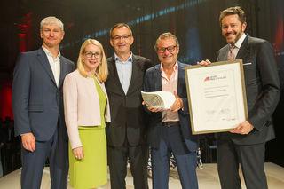 Präsident Harald Mahrer, CEO Heinz Lichtenegger, Günter Rathammer, BM Margarete Schramböck und Bundesspartenobmann Karl Pisec