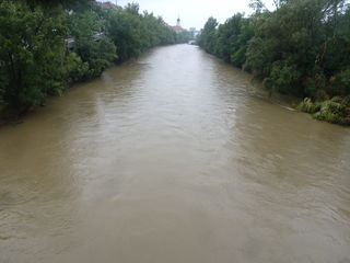 Im Sommer  ein häufiges Bild - die Mur führt in Graz ein braunes Wasser...