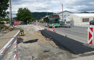 Die Bauarbeiten in der Kärntner Straße sind in vollem Gange.