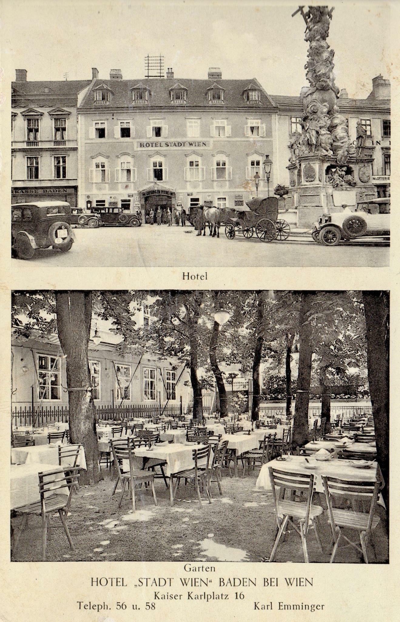 Damals Heute Hotel Stadt Wien Sparkasse Baden
