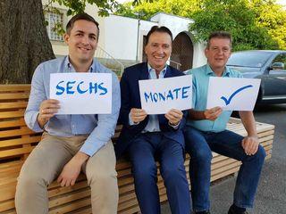 Bürgermeister Alexander Vojta,Vizebürgermeister Dietmar Ruf und GR Paul Vogler ziehen nach sechs Monaten Zusammenarbeit eine positive Bilanz