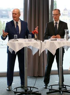 Hauptverband-Manager Probst (li.) und Biach: Sorge, dass Gesundheitsreform nicht fortgesetzt wird.