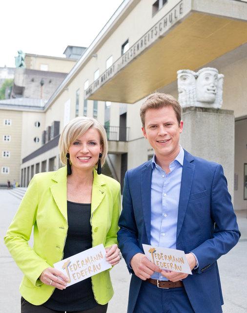 Die Moderatoren Romy Seidl und Tobias Pötzelsberger