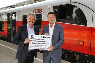 Landtagspräsident Karl Wilfing und Landtagsabgeordneter Vize Präsident der Wirtschaftskammer Kurt Hackl freuen sich über den neuen Frühzug.