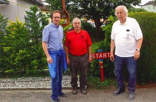 Bürgermeister Dieter Lang, Präsident Ö. Volkssportverband Franz Kirchweger und Obmann Wanderverein Gallspach Hermann Harrer.
