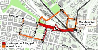 Der direkte Weg über die Gudrunstraße nach Simmering ist bis Schulbeginn gesperrt. Die Umwege sind am Plan.