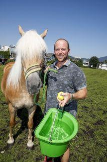 Der Fiaker Obmann Franz Winter mit seinem Pferd.