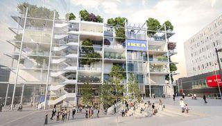 Begrünte Fassade und mehr Platz am Gehsteig Richtung Mariahilfer Straße: So soll der IKEA am Westbahnhof aussehen.