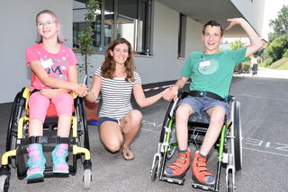 Special Olympics Motor Activities Bewerb in Waldhausen 2018. Laura Muttenthaler, Physio-Therapeutin Ilona Toth, Hannes Hunstorfer.