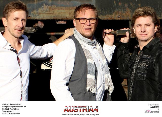 """Die Austropop-Band """"Austria 4"""" freut sich auf ein Treffen mit den Gewinnern."""