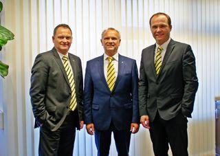 Die dreiköpfige Geschäftsleitung mit Günter Penthor, Ewald Richter und Jürgen Böhm (von links) blickt auf ein Zuwachs-Jahr 2017 zurück.