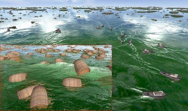 Ein Standbild aus einer Echtzeitanimation. Die Simulation umfasst hunderte schwimmende Objekte in einem riesigen Gebiet, dennoch enthält sie winzige Details, die nur aus nächster Nähe erkennbar sind.