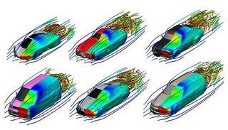 Die neue Software zeigt innerhalb von Sekundenbruchteilen die Stromlinien und den Druck an den Oberflächen von interaktiv deformierbaren Objekten.