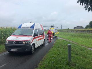 Zwei Rettungshubschrauber brachten die Schwerverletzten in die Spitäler nach Graz.