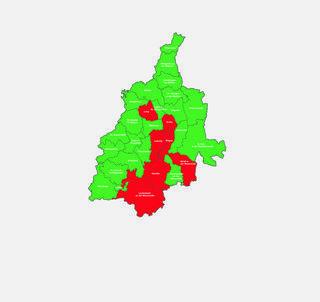 Der Bezirk Leibnitz: Rot sind die 1A-Gemeinden, in grün die A-Gemeinden.