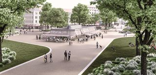 Der Reumannplatz neu wie er aussehen könnte: Ein Gastropavillon als Treffpunkt für alle Favoritner.