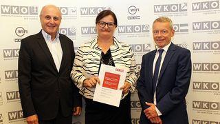 v. l.: Günter Rübig, Spartenobmann Industrie, Anette Klinger Steuersprecherin Sparte Industrie und Markus Achatz, Berater der Sparte Industrie.