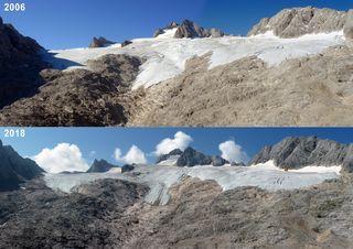 Ein Vergleichsfoto vom Dachstein-Gletscher: 2006 (oben) und 2018 (unten) – Gletscher bieten einen guten Indikator für die mittelfristige Erwärmung des Klimas.