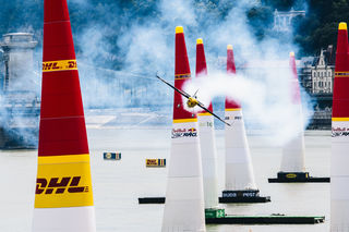 Kirby Chambliss of the United States performs during the finals at the fourth round of the Red Bull Air Race World Championship in Budapest, Hungary on June 24, 2018. // Armin Walcher / Red Bull Content Pool // AP-1W2UGSJBS2111 // Usage for editorial use only // Please go to www.redbullcontentpool.com for further information. //