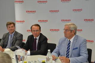 STRABAG-Direktionsleiter St. Pölten Hans Kirchknopf, Bürgermeister Matthias Stadler, Franz Weissinger kaufmännischer Direktor von der STRABAG