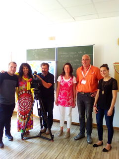 Das ORF-Team mit Christa Drussnitzer und Georg Berger im FSSZ Spittal