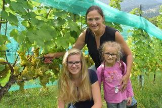 Bei der Weinlese auf der Pollenitzen sind alle Generationen vertreten: Alina, Christiane und Hanna (v.li.)