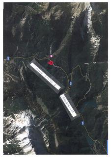 Auf diesem Luftbild haben wir grob eingezeichnet, wie die Trasse - angeblich - geplant ist.