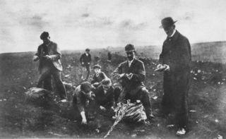 Nach dem Kriegsende herrschte vielerorts in Wien Hungersnot. Auch die Floridsdorfer Bevölkerung musste mühsam nach Nahrung suchen.
